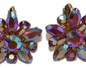 1940s Coro Aurora Borealis Clip Vintage Earrings