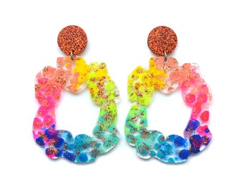 Laser Cut Earrings Acrylic Earring Rainbow Earrings Statement Earrings Stud Dangle Hoop Earrings Resin Earrings Glitter Drop Earring