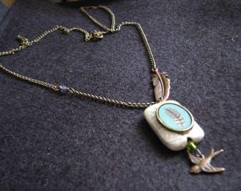 Sideways feather necklace | stone pendant | flying bird | nature necklace