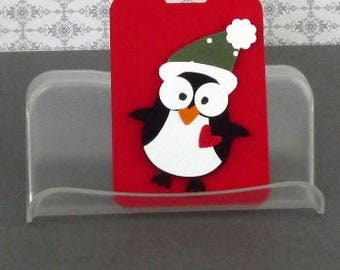 Christmas Gift Tag Handmade Owl Penguin Tags Penguin Ornaments Your Choice of One Three or Eight Tags Scrapbookking cardmaking