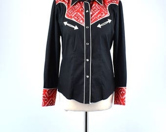 1970's Black Cowgirl Blouse with Handkerchief Detail and Pearl Snap Buttons by Avante West