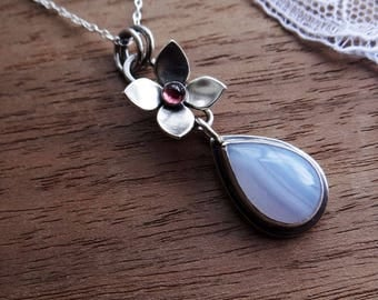 Flower Pendant Necklace - Blue Lace Agate Necklace in Sterling Silver