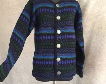 Vintage 60's Cardigan Sweater, Ski Sweater, Black, Blue, Green Striped Wool Sweater from Norway, Small to Medium, Bust 40