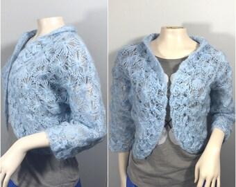 Blue Glentex 50s Sweater Shawl // Powder Blue Sweater, Shawl, Cardigan, 1950s Size Small