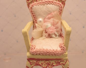 Miniature Victorian Chair Figurine Small Doll Display Resin White and Pink  Upholstery 5 inch