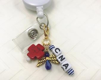 CNA Monogram Badge Reel Dangle Diffuser Charm Beaded Keychain Red Cross Angel Blue Attachment Lobster Clasp Nurse Medical Symbol