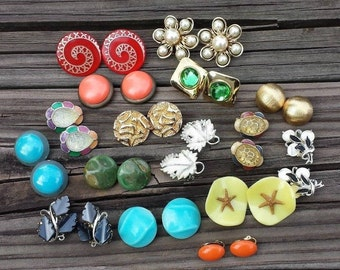 Vintage Clip On Earrings, Collectiong Lot of 16 Pairs, Wearable, Altered Arts Assemblage