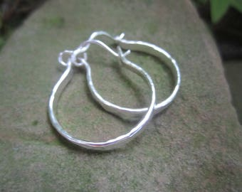 Hammered, Classic, Sterling Silver Hoops