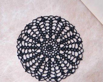 Black Victorian Lace Crochet Doily, Gothic Decor, Steampunk Decoration, Black Doily, Table Accessory, New, Stunning Spider Web Design