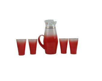 Vintage Blendo West Virginia Frosted Glass Pitches Four Tumblers Watermelon Red Paper Label Retro Mid Century Barware Bar Ware