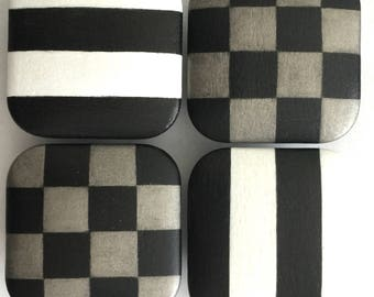 CABINET KNOBS Dresser Drawer Pulls Hardware - 2 in. Square Black White Stripes - Pewter and Black Checks - Ships FREE!