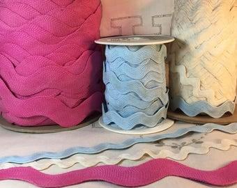 Sewing Trim - Ric Rac  - Vintage Ric Rac - Baby Blue - Jumbo Pink Vintage Cream - Cotton Ric Rac - Poly Rick Rack - 1 Yard - N-04