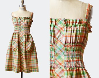 Vintage 70s Boho Summer Dress Plaid Mini Lanz Originals / 1970s Sun High Waist Bohemian Sundress RUFFLE Green Orange Minidress Romantic, s m