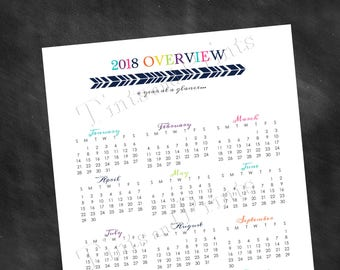 "2018 Overview Calendar add-on for Direct Sales Planner Printable PDF - 8.5"" x 11"" A4 Letter Size - instant download"