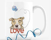 Mugs for dog lovers / Pitbull Mom / Coffee Mug / Pitbull / Illustrated from my California Home Studio
