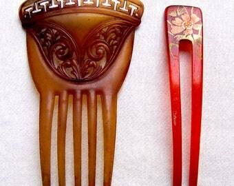 2 vintage hair combs hair accessories Kanzashi hair ornament headdress hair fork hair stick hair fork decorative comb