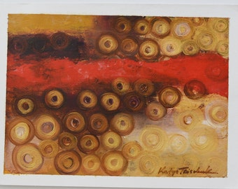 "Red oil abstract on paper 16x12"" by Toronto artist Katya Trischuk"