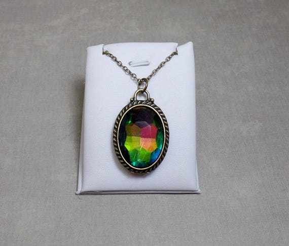 Rainbow Crystal Necklace - Rainbow Prism Pendant - Oval  Pendant - Free US Shipping - Antique Bronze Neckllace