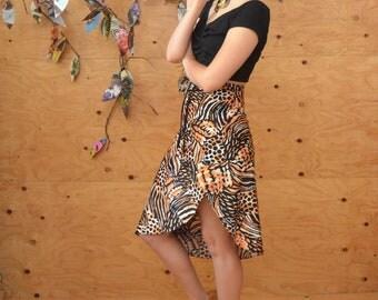 Vintage 80's Leopard Swim Suit Material High Waisted Wrap Skirt SZ S/M