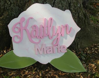 "24"" Rose Wood Name Sign - Girls Name Sign - Custom Hand Painted Wood Name Sign"