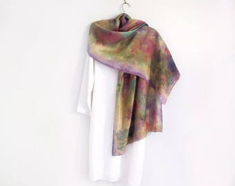 Multicolored Silk Scarf / Shawl / Wrap Hand-painted
