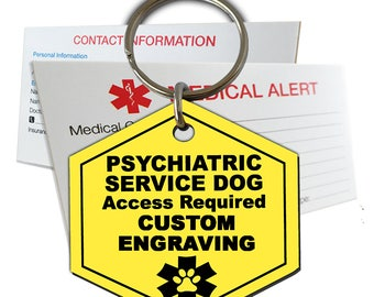 Psychiatric Service Dog ID Tag Custom Engraved Hexagon Plastic SD7