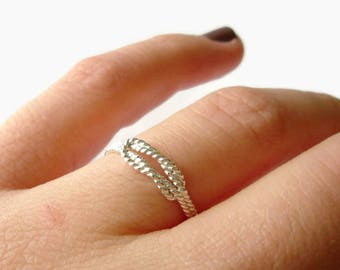 Infinity knot ring Silver Love knot ring sterling silver ring • Infinity ring • Twisted Rope jewelry • Sailors knot ring sterling silver