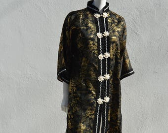 Vintage chinese robe coat jacket NOS never used black and gold thread glam small by thekaliman