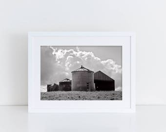 Grain Silo Photograph in black and white, Farm Photography, Physical Print