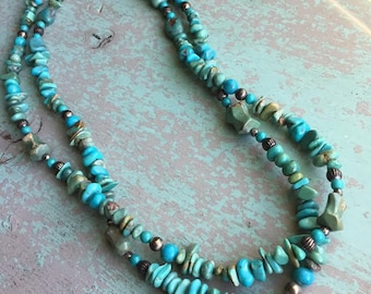 Vintage Turquoise & Sterling Silver Necklace