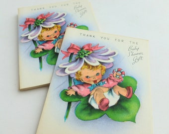 Baby Shower Gift Thank You Notes Lot of 10 Unused Mid Century Greeting Cards