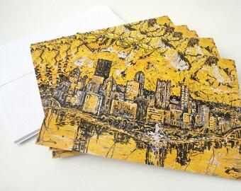 Pittsburgh Skyline note cards, Pittsburgh Skyline, Greeting Cards by artist Johno Prascak, Johnos Art Studio
