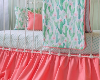 Cactus Blossom Coral and Mint Baby Girl Crib Set | Watercolor Desert Bumperless Baby Bedding w/ Pom Trim Gather Skirt & Matching Accessories