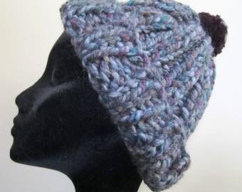 Chunky Hat Pom Pom Hand Knit Wool Acrylic Blend Blue Purple Ladies - Size Small