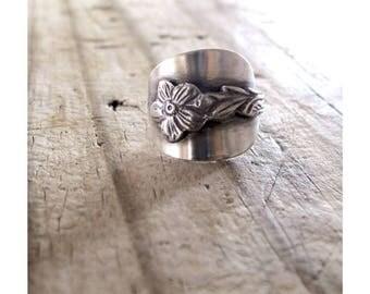 Flower Rings Daisy Rings, Daisy Flower Ring, Floral Silver Spoon Ring, Daisy Eco Friendly Silver Spoon Ring, Daisy Dutch Silver Flower Rings