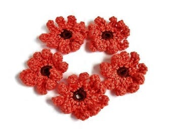 Crochet Flower Appliques Dark Orange Pumpkin Color Daisies Curly Petals Set of 5 Sewing Crafting 3 inches
