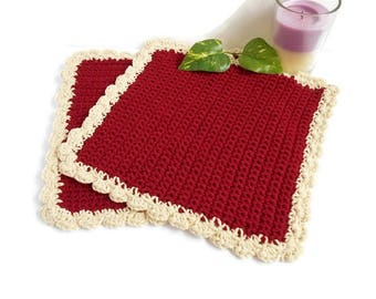 Crochet Washcloth Burgundy Red Cotton Off White Cream Color Soft Durable Handmade Luxury Bath Face Cloth