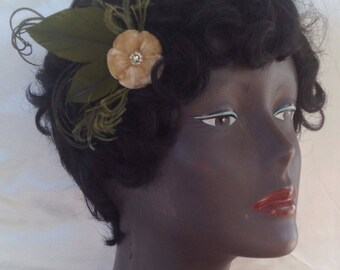 vintage brown velvet flower hair clip with antique beads and vintage green feathers olive headpiece 1920's 1940's speakeasy- ready to ship