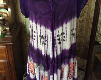 Vintage 1990s Tunic Dress Top Sapogee Made In India Purple Coral Flowers White Ty Dye Cotton Gauze Fabric Hippie Festival Boho Summer