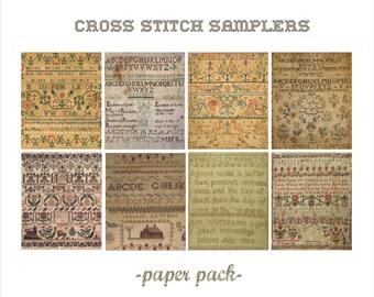 ANTIQUE SAMPLERS - Digital Paper Pack -8 Vintage AbC Cross Stitch Sampler Printable Papers,Instant Download Digital Printable Paper crafts