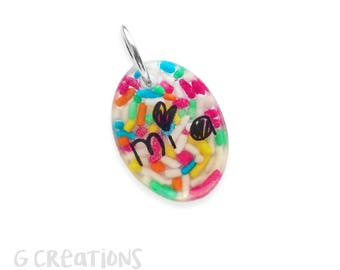 Lightweight Small Pet ID Tag - Oval Dog and Cat Charm - Personalized, Colorful Handmade Pet Collar Accessory - Luminous Waterproof Plastic
