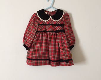 red plaid baby girl dress | velvet peter pan collar and bow dress | new old stock | 24 months