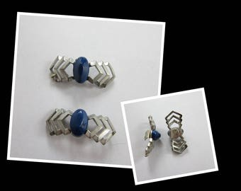 Vintage 1930s Shoe Clips with Blue Stones / Blue and Silver Metal Art Deco Shoe Clips / Modernist