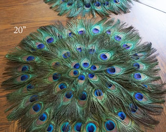 Elegant Peacock Feather Place Mats Placemat Placemats Centerpiece Decoration Table  Decor Wedding Anniversary Birthday Bridal Shower Many