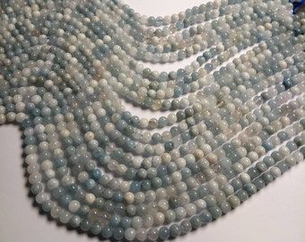 Aquamarine - 6mm round beads - Full strand - 63 beads - RFG1354