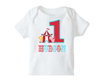 Circus Birthday Tshirt, 1st Birthday Circus Party , Girls or Boys 1st Birthday Circus personalized tshirt , Carnival Circus Birthday Party