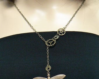 Necklace, Steampunk Necklace, Dragonfly, Steampunk Jewelry, Costume Jewelry, Cosplay, Hand Made