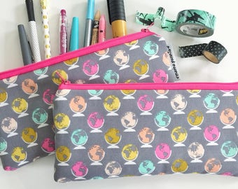 pencil pouch -- colorful globes