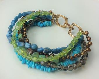 Bracelet Multistrand Turquoise Peridot Bronze Pearl Apatite Chrysoprase Topaz Bronze Clasp Green Brown
