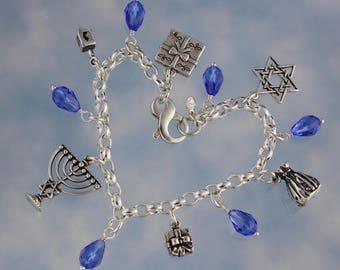 Hanukkah Charm Bracelet- Sterling Silver- Menorah, Dreidel, Gifts, Gelt, Star of David- Sapphire Swarovski Crystals - free shipping USA